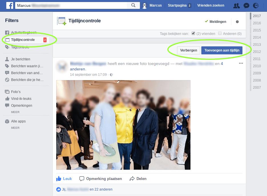 Screenshot Facebook tijdlijncontrole