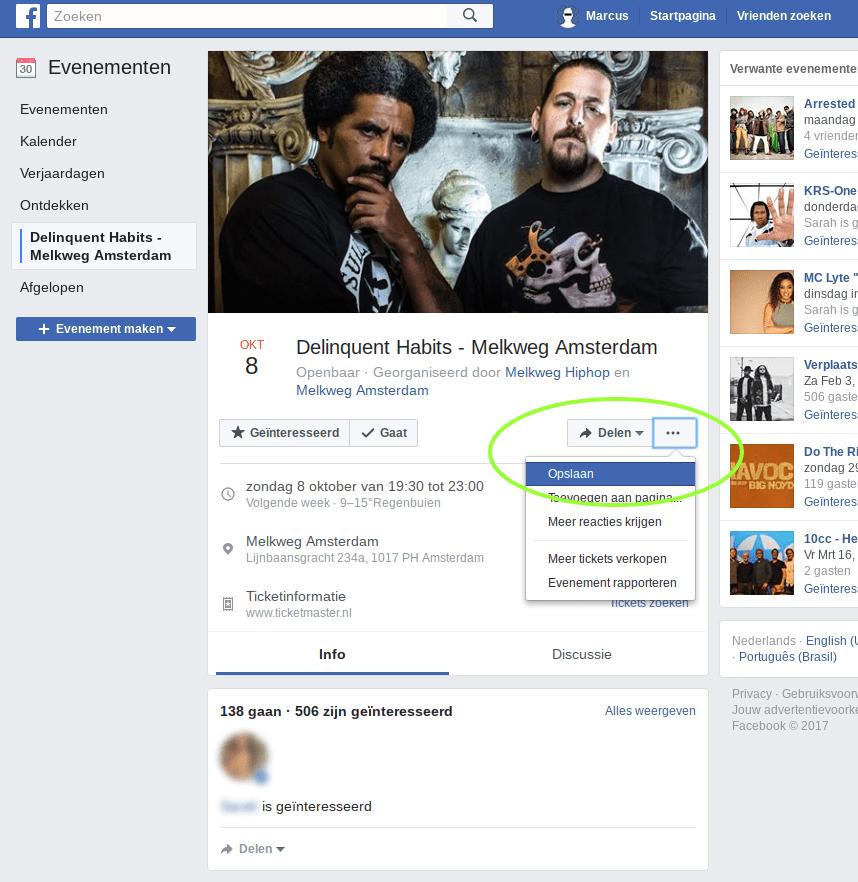 Facebook privacy intstellingen 5 - Anoniem reageren op evenementen