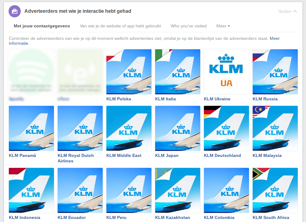 Facebook privacy intstellingen 6 - KLM advertenties
