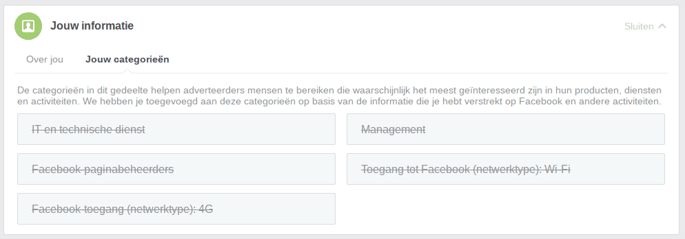 Facebook privacy intstellingen 6 - Jouw categorieen