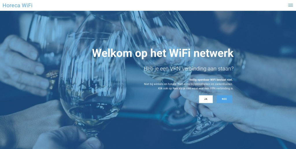 Screenshot: WiFi landingspagina voor de horeca - start