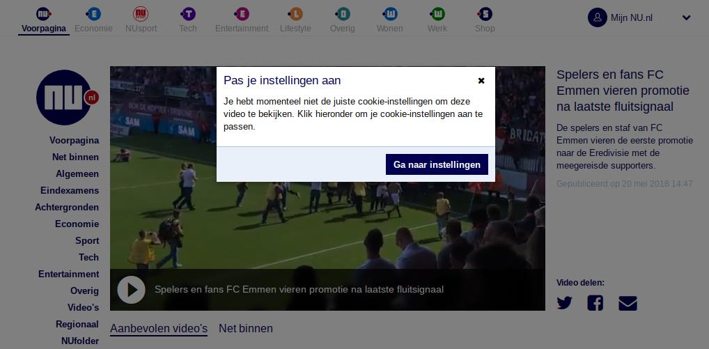 Screenshot Nu.nl Cookie chantage voor het zien van een video.
