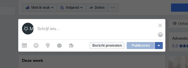 Screenshot - Stap 3 - Facebook nieuw bericht schrijven