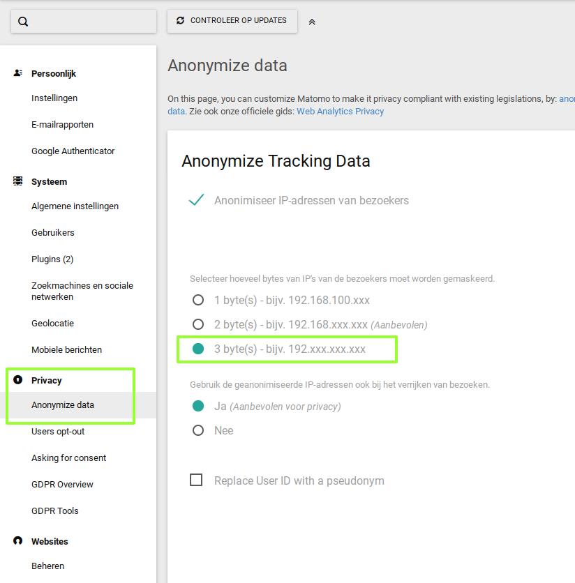 Screenshot privacy instellingen Matomo / Piwik.