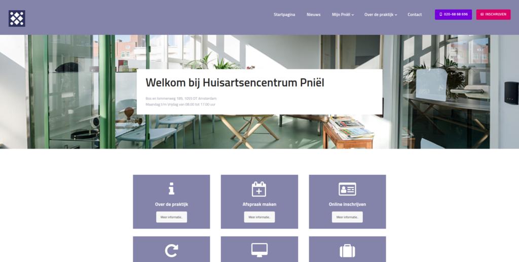 Screenshot website Huisartsencentrum Pniël - Startpagina