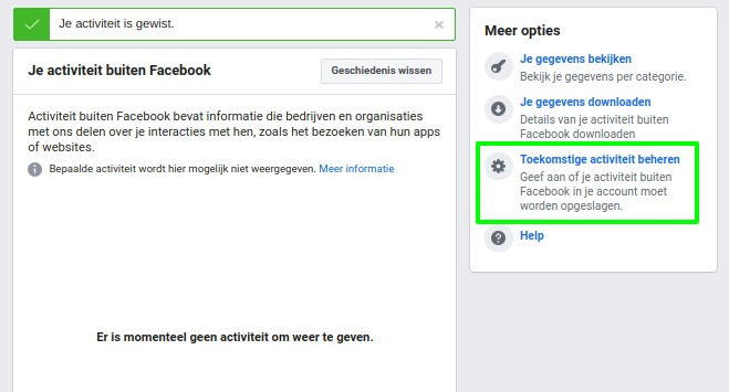Screenshot zonder activiteiten buiten Facebook.