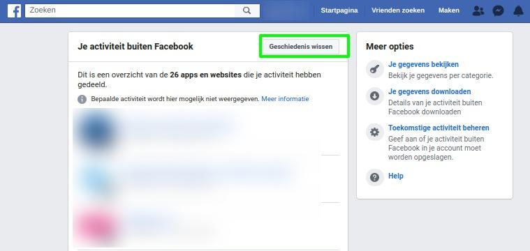 Screenshot overzicht apps en websites met jouw activiteiten doorspelen aan Facebook.
