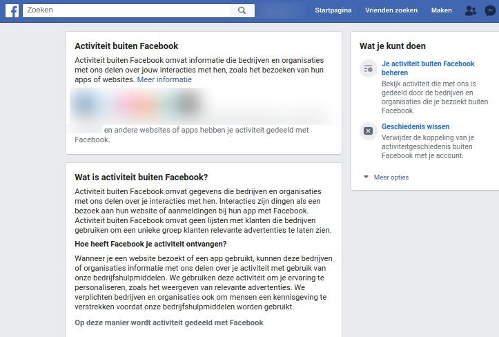 Screenshot pagina Activiteit buiten Facebook.