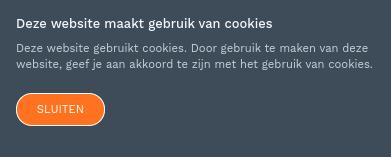 Screenshot cookiemelding waarbij je geen optie hebt tracking-cookies te weigeren.