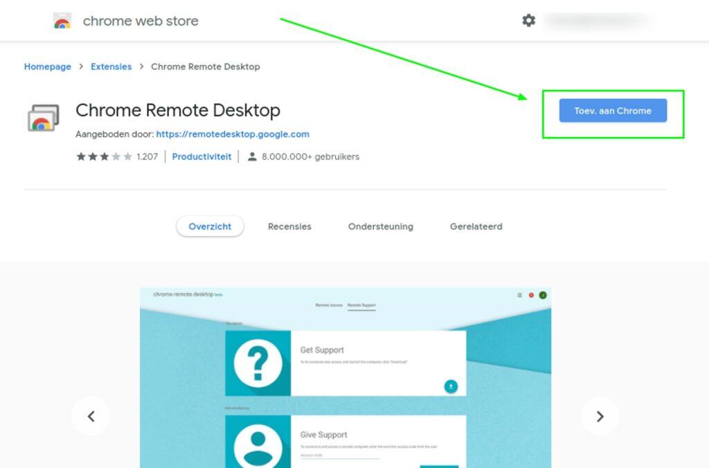 Screenshot Chrome Remote Desktop extensie toevoegen aan Chrome.