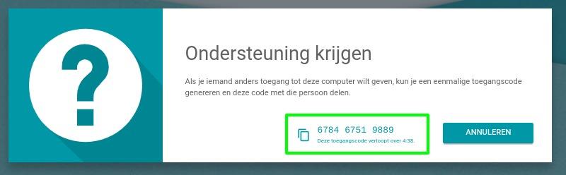 Screenshot Chrome Remote Desktop code.