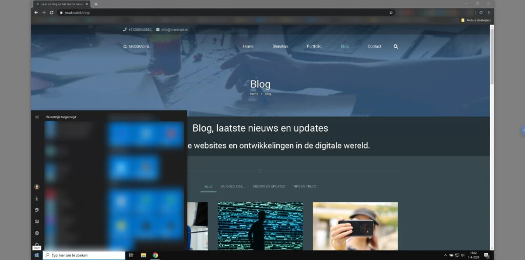 Screenshot Chrome Remote Desktop van Chromebook naar Windows PC.