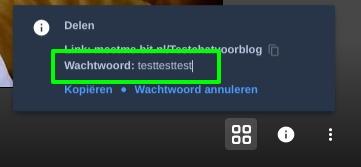 Screenshot videobellen met Jitsi wachtwoord delen.