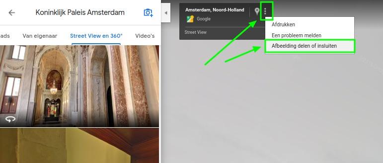 Screenshot menu 360 graden foto delen op Google Maps.