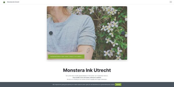 Screenshot startpagina Monstera Ink Utrecht.